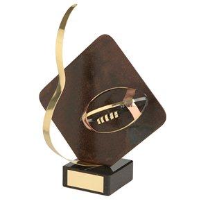 Trofeo hierro oxidado Pelota Rugby  varios tamaños.  Ref - BP1209