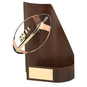 Trofeo hierro oxidado Pelota Rugby  varios tamaños.  Ref - BP1409