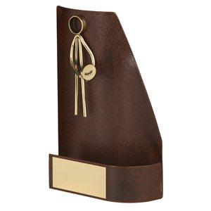 Trofeo hierro oxidado figura Rugby  varios tamaños.  Ref - BP2438