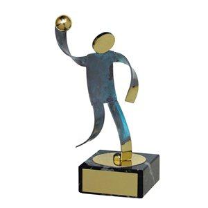 Trofeo Figura latón oxidado verde cm 18 Balonmano varios tamaños.  Ref - BP600/1BN