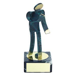 Trofeo Figura latón oxidado verde cm 18 Dardos varios tamaños.  Ref - BP600/1DA