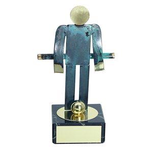 Trofeo Figura latón oxidado verde cm 18 Futbolín varios tamaños.  Ref - BP600/1FN