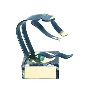 Trofeo Figura latón oxidado verde cm 18 Natación varios tamaños.  Ref - BP600/1NA