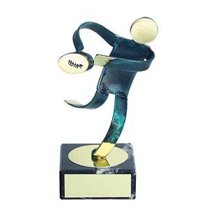 Trofeo Figura latón oxidado verde cm 18 Rugby varios tamaños.  Ref - BP600/1 RU