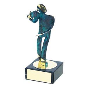 Trofeo Figura latón oxidado verde cm 18 Video varios tamaños.  Ref - BP600/1 VI