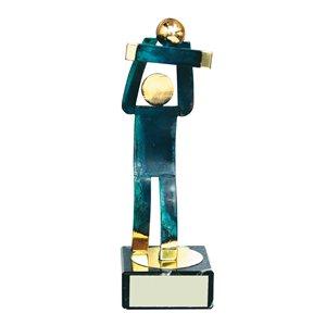 Trofeo Figura latón oxidado verde cm 18 Balonvolea varios tamaños.  Ref - BP600/1 VO